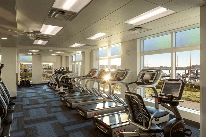 Harbor View At The Navy Yard - Fitness Room with Treadmills and Outside View